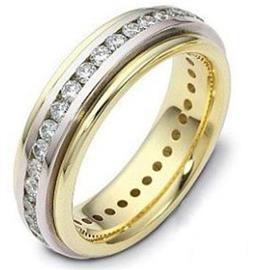 """Обручальное кольцо с бриллиантами из золота 585 пробы серии """"Diamond"""", артикул R-1606"""