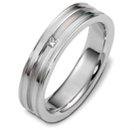 Обручальное кольцо с бриллиантом из белого золота 585 пробы, артикул R-2481