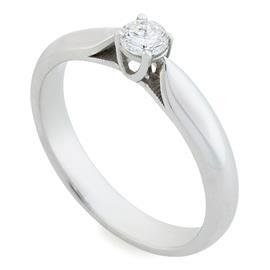 Помолвочное кольцо с 1 бриллиантом 0,17 ct 2/5 белое золото 585°, артикул R-R0021W