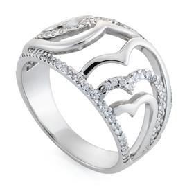 Кольцо с 110 бриллиантами 0,45 ct 3/4 из белого золота 750°, артикул R-DRN08513-01