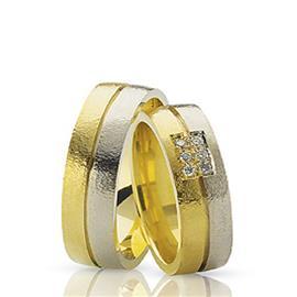Обручальные кольца парные с бриллиантами из золота 585 пробы, артикул R-ТС 1256 009