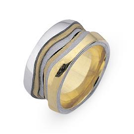 Обручальное кольцо из двухцветного золота 585 пробы, артикул R-СЕ034