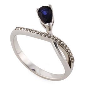 Кольцо с 1 сапфиром 0,5 ct 2/3 и 21 бриллиантом 0,11 ct 4/4 из белого золота 585°, артикул R-SRN02329-01