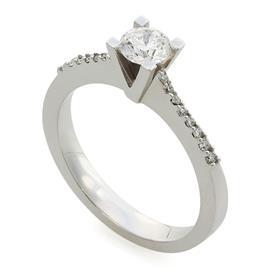Помолвочное кольцо с 17 бриллиантами 0,53 ct (центр 1 бриллиант 0,41 ct 3/5, боковые 16 бриллиантов  0,12 ct 3/4) белое золото 750°, артикул R-СК998