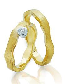 """Обручальные кольца парные с бриллиантом серии """"Twin set"""", артикул R-ТС 3265a/001"""