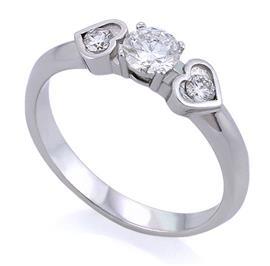Помолвочное кольцо с 3 бриллиантами 0,30 ct (центр 1 бриллиант 0,20 ct 3/3, боковые 2 бриллианта 0,10 ct 3/4) белое золото 585°, артикул R-НП 0012-2