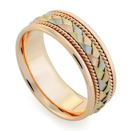 Обручальное кольцо дизайнерское из розового, белого, жёлтого золота, комфортная посадка, артикул R-V1040-3