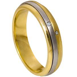 Обручальное кольцо c бриллиантами крутящееся из золота 585 пробы, артикул R-1707