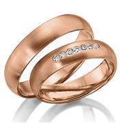 Обручальные кольца парные с бриллиантами из золота 585 пробы, артикул R-80602-3м