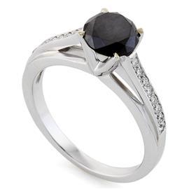 Кольцо с черным бриллиантом 1,25 ct белые бриллианты 0,13 ct 4/5 белое золото 585°, артикул R-КК 018125