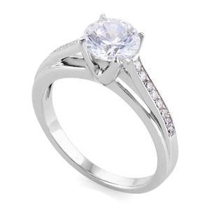 Кольцо с бриллиантами 0,83 ct (центр 0,70 ct 4/5, боковые 0,13 ct 4/5) белое золото 585°, арт. R-КК 018070