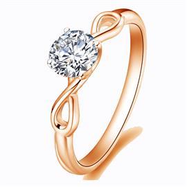 Помолвочное кольцо с 1 бриллиантом 0,18 ct 6/5  из розового золота 585°, артикул R-GGR34-3