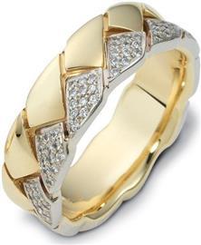 Эксклюзивное обручальное кольцо 70 бриллиантов белое желтое золото, артикул R-2258
