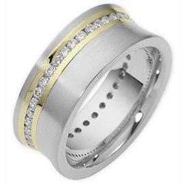 Обручальное кольцо из золота 585 пробы с бриллиантами, артикул R-2019w