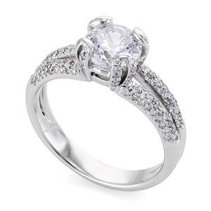 Кольцо с бриллиантами 1,55 ct (центр 1,20 ct 4/5, боковые 0,35 ct 4/5) белое золото 585°, арт. R-КК 028120