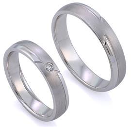Обручальные кольца из белого золота парные с 1 бриллиантом, артикул R-ТС 3324-2