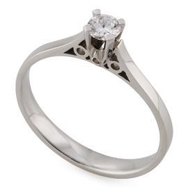 Помолвочное кольцо  с 1 бриллиантом 0,19 ct  2/3 белое золото 585°, артикул R-YZ33877-1