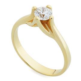Помолвочное кольцо с 1 бриллиантом 0,50 ct 4/4 с сертификатом (GIA5136340938 0.50 G/VS1) желтое золото 585°, артикул R-НП 008