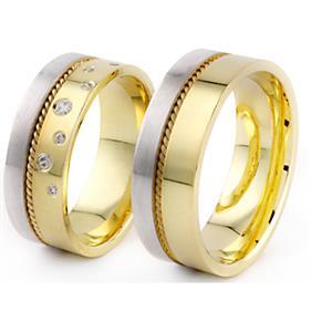 Обручальные кольца парные с бриллиантами из комбинированного золота, арт. R-ТС 1557