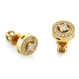 Серьги-пусеты с 34 бриллиантами 0,33 ct (центр 0,2 ct 4/3 по бокам 0,13 ct 4/3) из желтого золота 750°, артикул R-О615-1