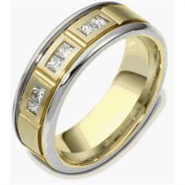 Обручальное кольцо с бриллиантами из золота 585 пробы, артикул R-1564-4