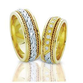 Эксклюзивные обручальные кольца парные из золота 585 пробы, артикул R-ТС 1566-1