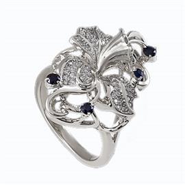 Кольцо из серебра 925° с фианитами, артикул R-22634с