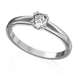 Помолвочное кольцо с 1 бриллиантом 0,2 ct 4/5  из белого золота 585°, артикул R-D44706-2