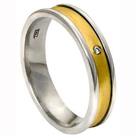 Обручальное кольцо с бриллиантами из желтого и белого золота 585 пробы, артикул R-1977