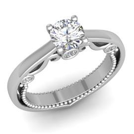 Кольцо с 1 бриллиантом 0,45 ct 4/5 и 6 бриллиантами 0,1 ct 4/5 из белого золота 585°, артикул R-D47046-2