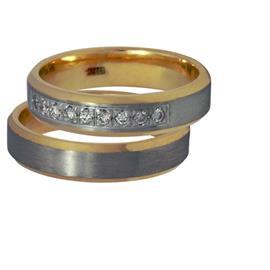 """Обручальные кольца парные с бриллиантами серии """"Twin Set"""", артикул R-ТС К010"""