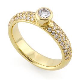Помолвочное кольцо с 55 бриллиантами 0,74 ct (центр 1 бриллиант 0,20 ct 4/5, 54 бриллианта боковые 0,54 ct 4/5) желтое золото 585°, артикул R-3614-1