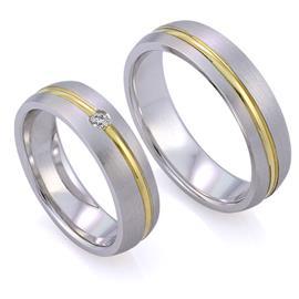 Обручальные кольца парные с 1 бриллиантом из золота 585 пробы, артикул R-ТС L1909