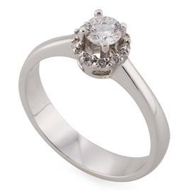 Помолвочное кольцо из с 14 бриллиантами 0,36 ct (центр 1 бриллиант 0,26 ct 3/3 по кругу 13 бриллиантов 0,10 ct 4/4) белое золото 585°, артикул R-НП 058