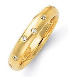 Обручальное кольцо  с бриллиантами круглой огранки из желтого золота 585 пробы, артикул R-6006/001
