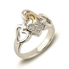 Кольцо из белого и розового золота 750 пробы с 11 бриллиантами  0,10 карат и
