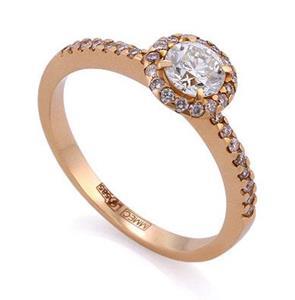 Кольцо с бриллиантами 0,61 ct (центр 0,45 ct 4/5, боковые 0,16 ct 4/5) розовое золото 585°, арт. R-КК 045045