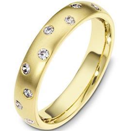 Обручальное кольцо с бриллиантами из желтого золота 585 пробы с бриллиантами, артикул R-3030e