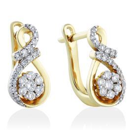 Серьги с 46 бриллиантами 0,35 ct 3/5 из желтого золота 750°, артикул R-DEA07388-008