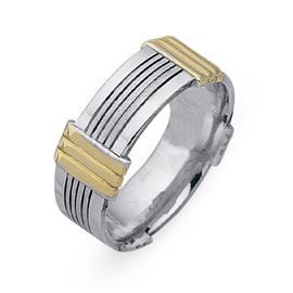 Обручальное кольцо из двухцветного золота 585 пробы, артикул R-СЕ024