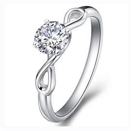 Помолвочное кольцо с 1 бриллиантом 0,21 ct 4/4  из белого золота 585°, артикул R-GGR34-2