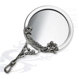 Серебряное Зеркало круглое с ажурной ручкой, артикул R-01100315А3