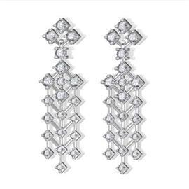 Серьги с 42 бриллиантами 2,44 ct 4/5, из белого золота 585°, артикул R-E29158-3-2