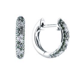 Серьги с 18 бриллиантами 0,15 ct 3/5, 80 бриллиантов зелёных 0,50 ct  из белого золота 585°, артикул R-28900051333
