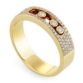 Кольцо с 3 бриллиантами 0,05 ct 4/5 и 90 бриллиантами 0,26 ct 4/5 из желтого золота 750°, артикул R-MR011550