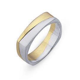 Обручальное кольцо из двухцветного золота 585 пробы, артикул R-СЕ030