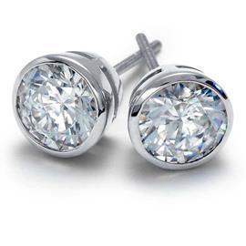 Серьги-пусеты с 2 бриллиантами 0,60 ct 4/5 из белого золота  585°, артикул R-ИВ-003