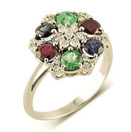 Кольцо из белого золота 585 пробы с 25 бриллиантами 0,16 карат и драгоценными камнями