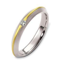 Обручальное кольцо с бриллиантом из белого и желтого золота 585 пробы, артикул R-2498/001