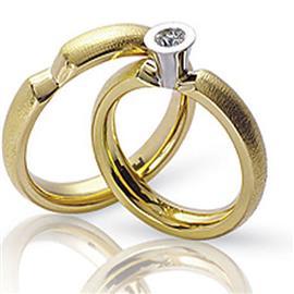 Обручальные кольца парные с бриллиантом из золота 585 пробы, артикул R-ТС 15781